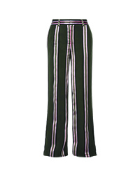 ADAM LIPPES Striped satin-trimmed twill wide-leg pants copy copy