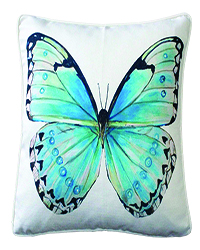 Costa Rica Robin's Egg Butterfly Large Scale Print Throw Pillow 20x20 copy copy