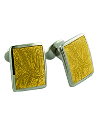 David Donahue Paisley Lemon Sterling Silver Cuff Links-trans